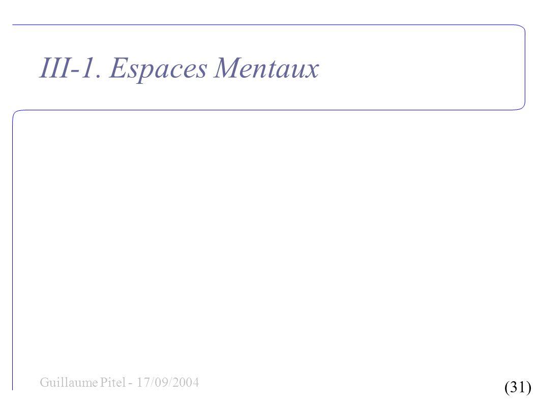 (31) Guillaume Pitel - 17/09/2004 III-1. Espaces Mentaux