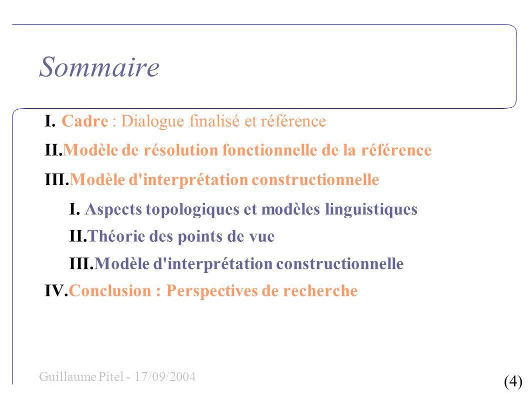 (4) Guillaume Pitel - 17/09/2004 Sommaire I.Cadre : Dialogue finalisé et référence II.Modèle de résolution fonctionnelle de la référence III.Modèle d'