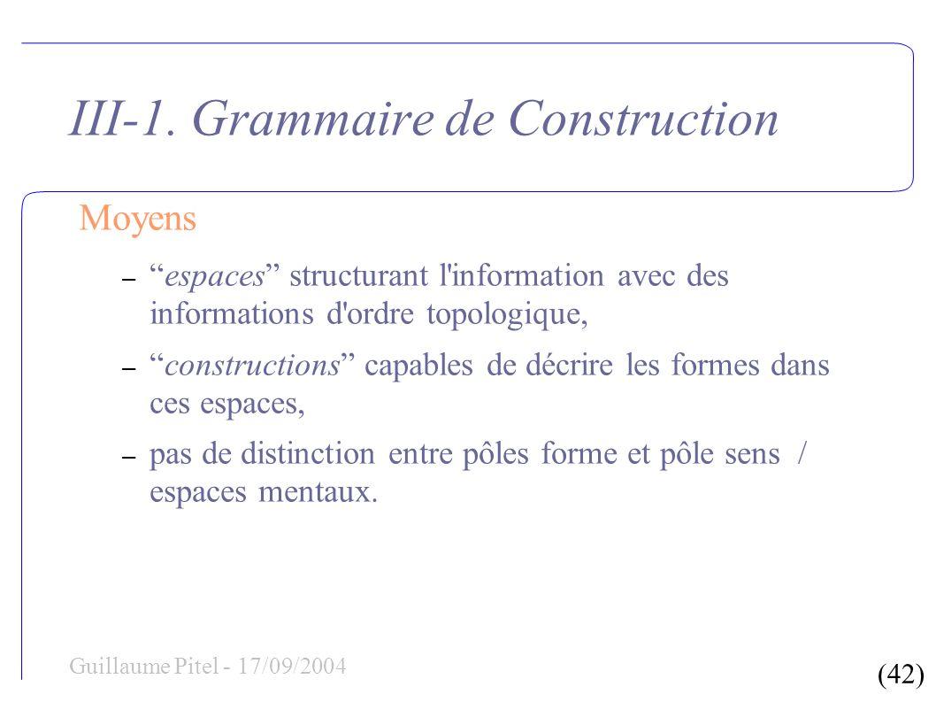 (42) Guillaume Pitel - 17/09/2004 III-1. Grammaire de Construction Moyens –espaces structurant l'information avec des informations d'ordre topologique
