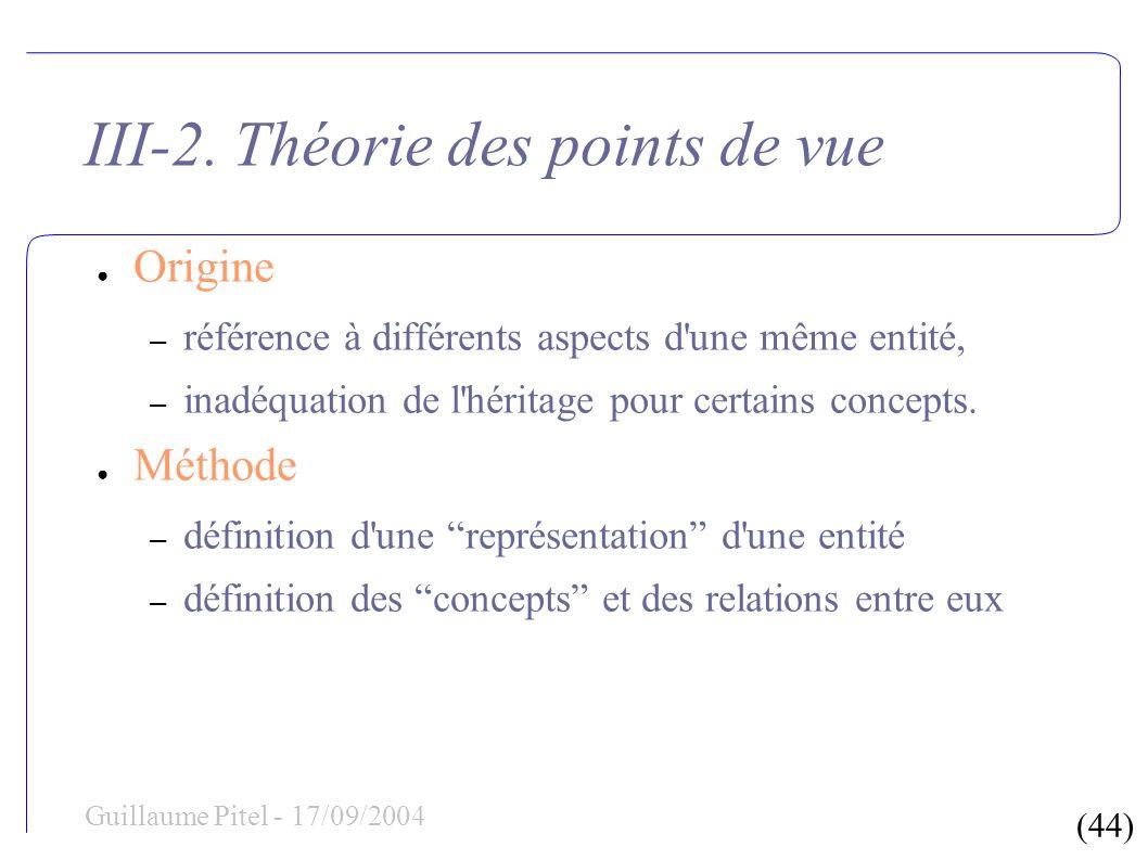(44) Guillaume Pitel - 17/09/2004 III-2. Théorie des points de vue Origine – référence à différents aspects d'une même entité, – inadéquation de l'hér