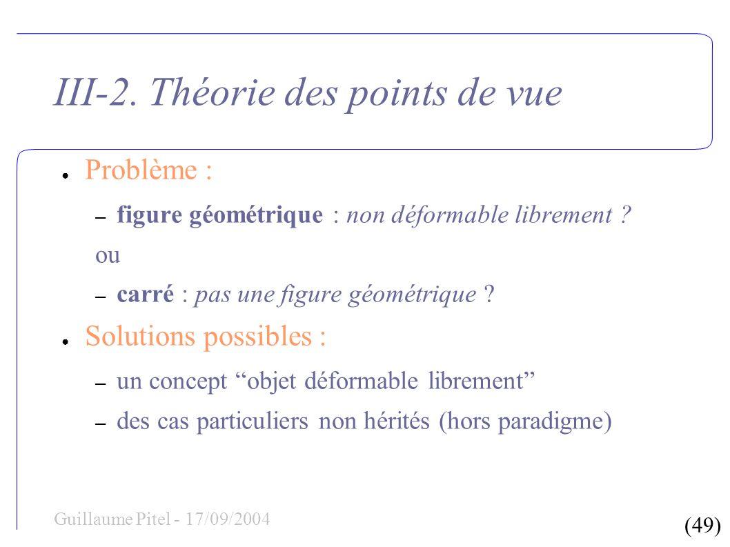 (49) Guillaume Pitel - 17/09/2004 III-2. Théorie des points de vue Problème : – figure géométrique : non déformable librement ? ou – carré : pas une f