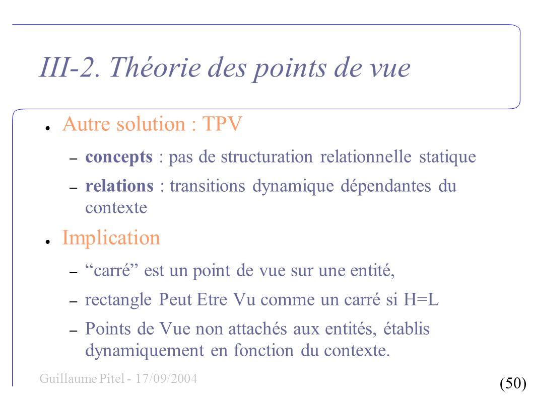 (50) Guillaume Pitel - 17/09/2004 III-2. Théorie des points de vue Autre solution : TPV – concepts : pas de structuration relationnelle statique – rel