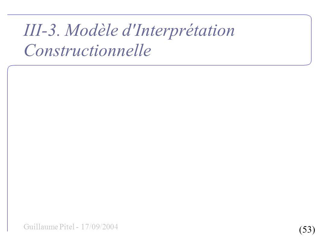(53) Guillaume Pitel - 17/09/2004 III-3. Modèle d'Interprétation Constructionnelle