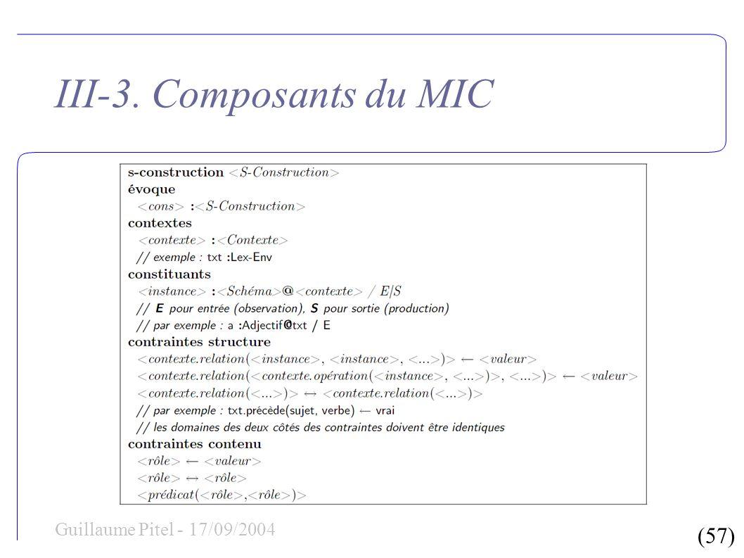 (57) Guillaume Pitel - 17/09/2004 III-3. Composants du MIC
