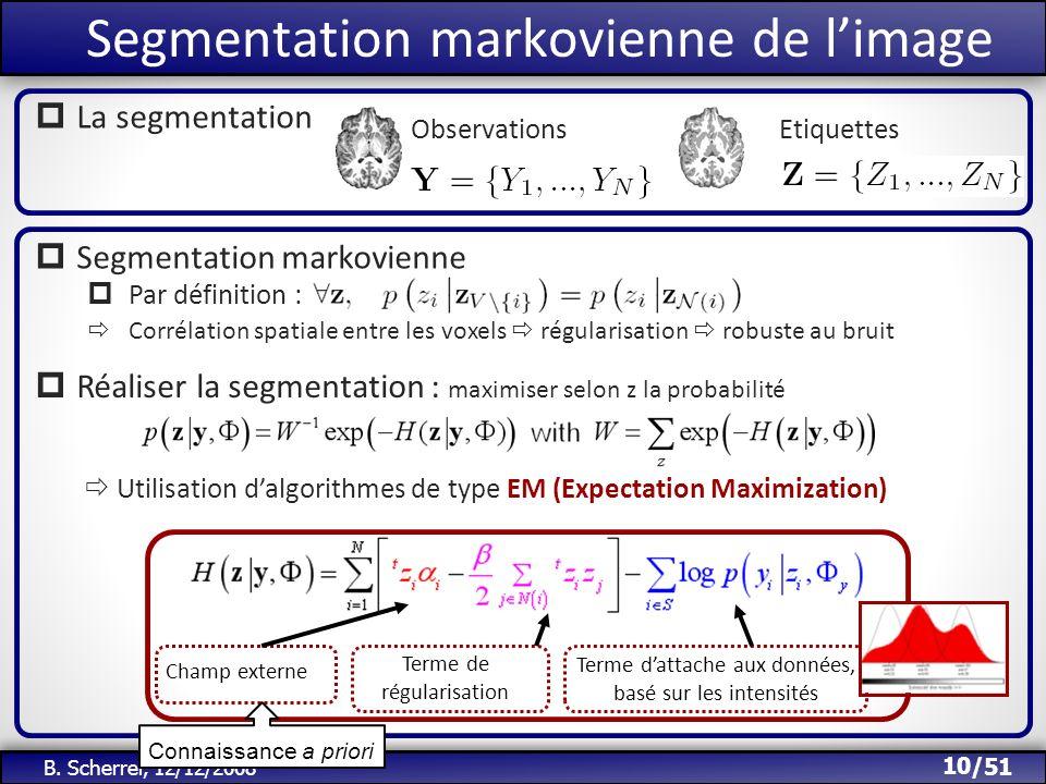 /51 Segmentation markovienne de limage 10 B. Scherrer, 12/12/2008 ObservationsEtiquettes La segmentation Terme dattache aux données, basé sur les inte