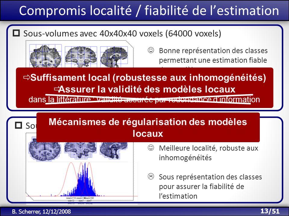 /51 Bonne représentation des classes permettant une estimation fiable des modèles Peu local, sensible aux inhomogénéités B. Scherrer, 12/12/2008 Compr