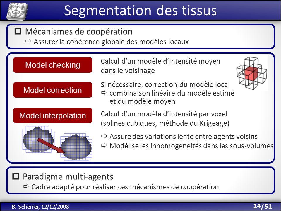 /51 B. Scherrer, 12/12/2008 Segmentation des tissus 14 Mécanismes de coopération Assurer la cohérence globale des modèles locaux Calcul dun modèle din