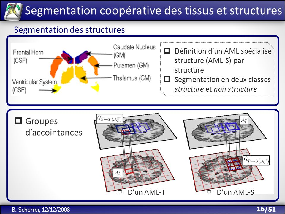 /51 B. Scherrer, 12/12/2008 16 Segmentation des structures Définition dun AML spécialisé structure (AML-S) par structure Segmentation en deux classes