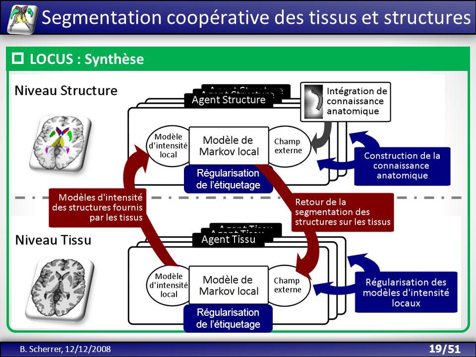 /51 Segmentation coopérative des tissus et structures B. Scherrer, 12/12/2008 19 LOCUS : Synthèse Régularisation de létiquetage