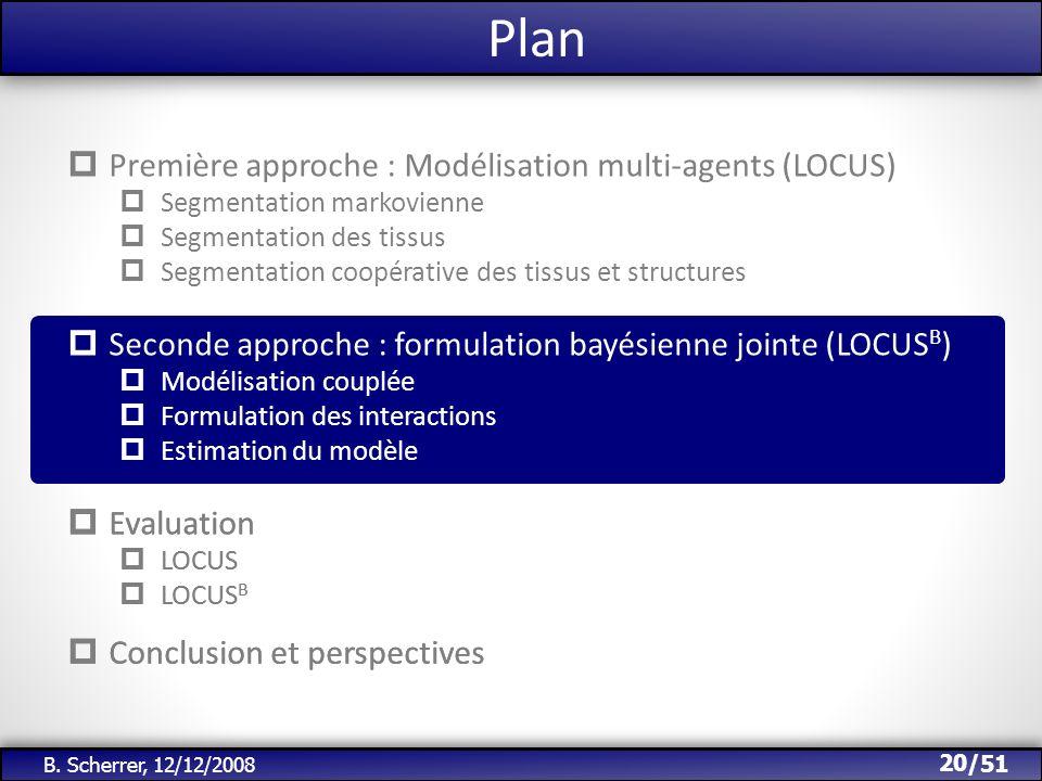 /51 Plan 20 B. Scherrer, 12/12/2008 Première approche : Modélisation multi-agents (LOCUS) Segmentation markovienne Segmentation des tissus Segmentatio