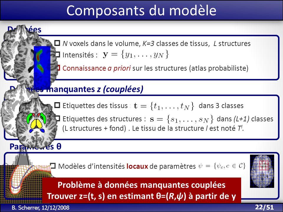 /51 Composants du modèle Etiquettes des tissus : dans 3 classes Etiquettes des structures : dans (L+1) classes (L structures + fond). Le tissu de la s
