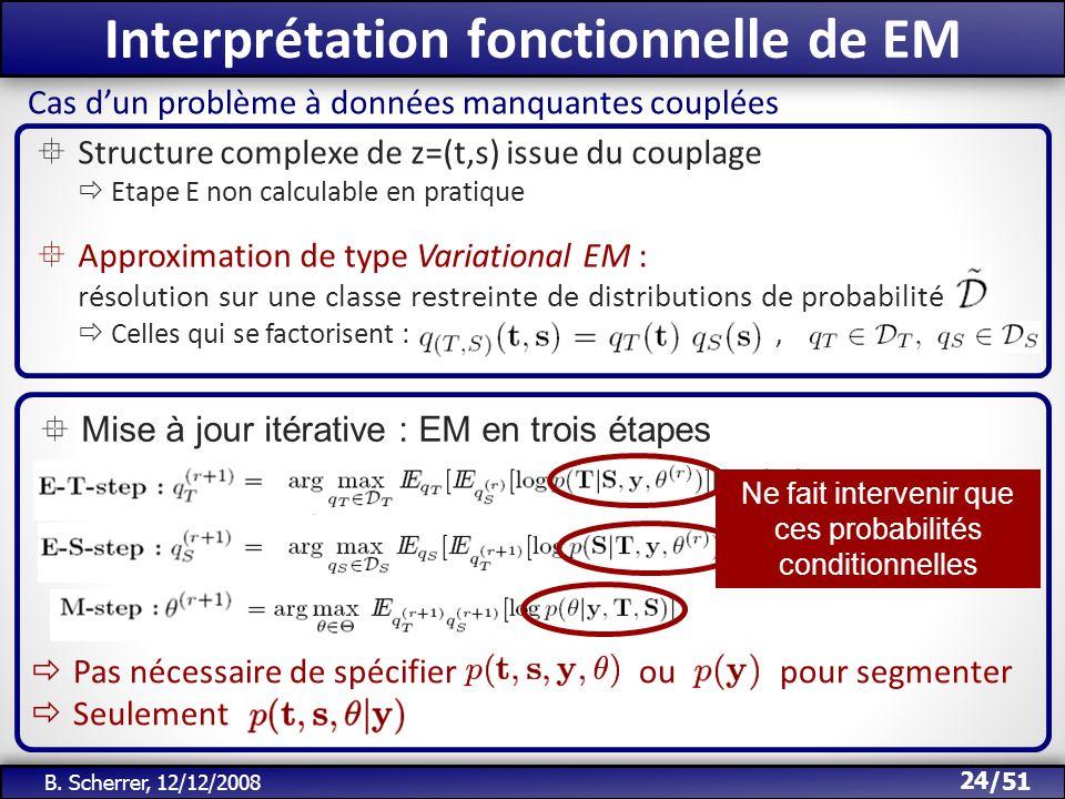 /51 Interprétation fonctionnelle de EM 24 B. Scherrer, 12/12/2008 Cas dun problème à données manquantes couplées Structure complexe de z=(t,s) issue d