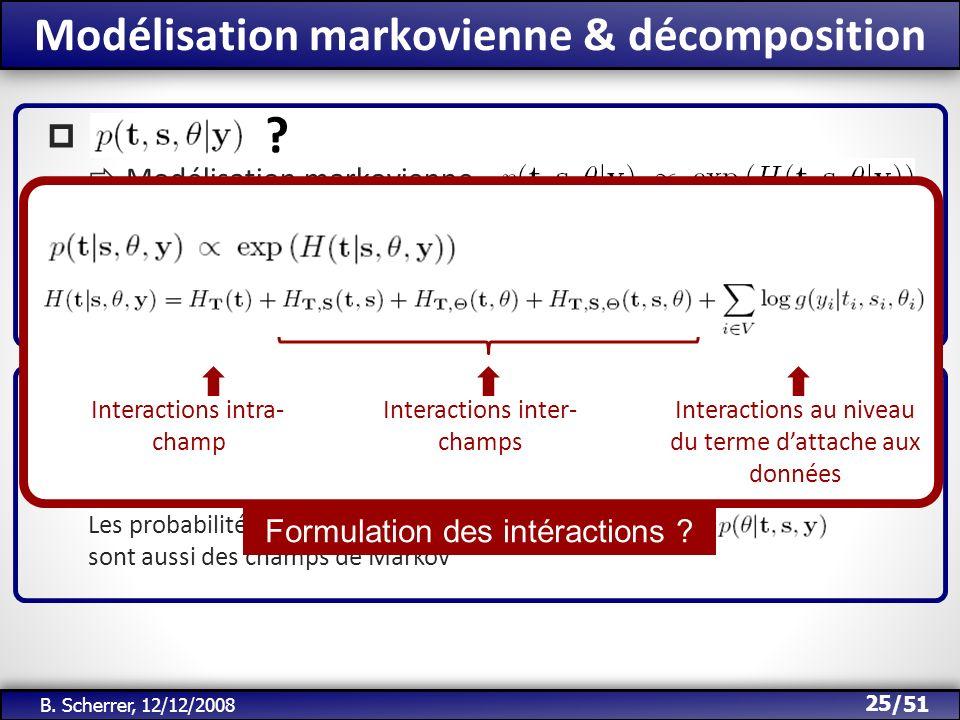 /51 Modélisation markovienne & décomposition 25 B. Scherrer, 12/12/2008 ? Energie dun champ de Markov Terme dattache aux données Décomposition Bayes :
