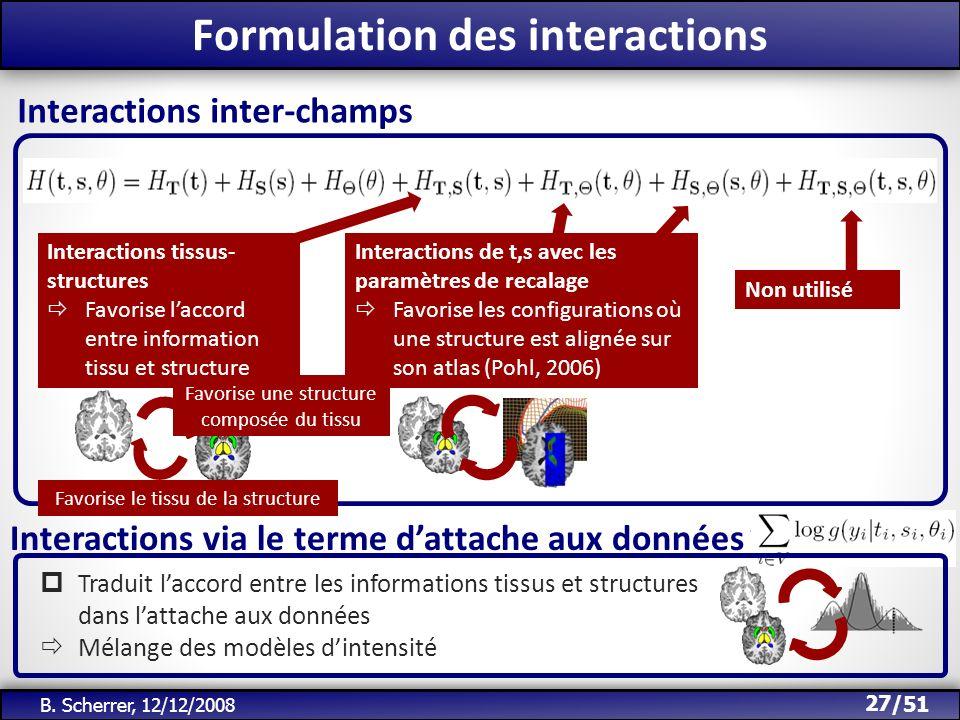 /51 Formulation des interactions 27 B. Scherrer, 12/12/2008 Interactions inter-champs Interactions tissus- structures Favorise laccord entre informati