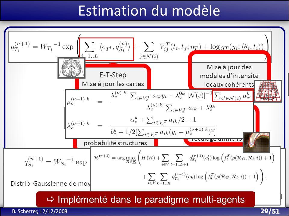 /51 M-ψ-Step Mise à jour des modèles dintensité locaux cohérents Initialisation Segmentations 29 B. Scherrer, 12/12/2008 Estimation du modèle E-T-Step