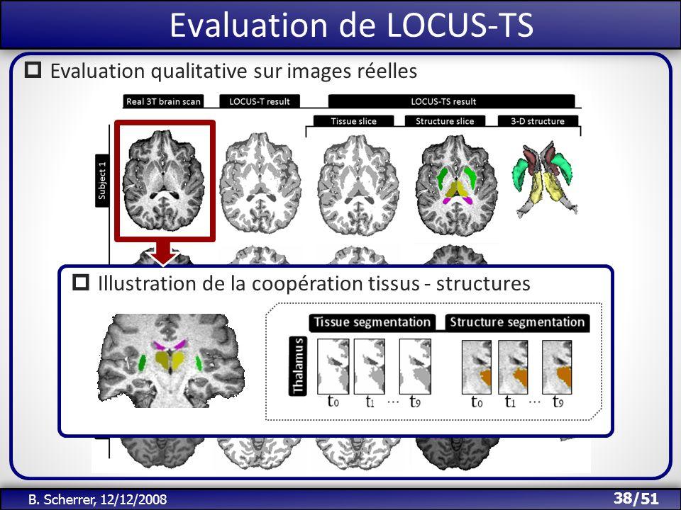 /51 Evaluation de LOCUS-TS 38 B. Scherrer, 12/12/2008 Evaluation qualitative sur images réelles Illustration de la coopération tissus - structures