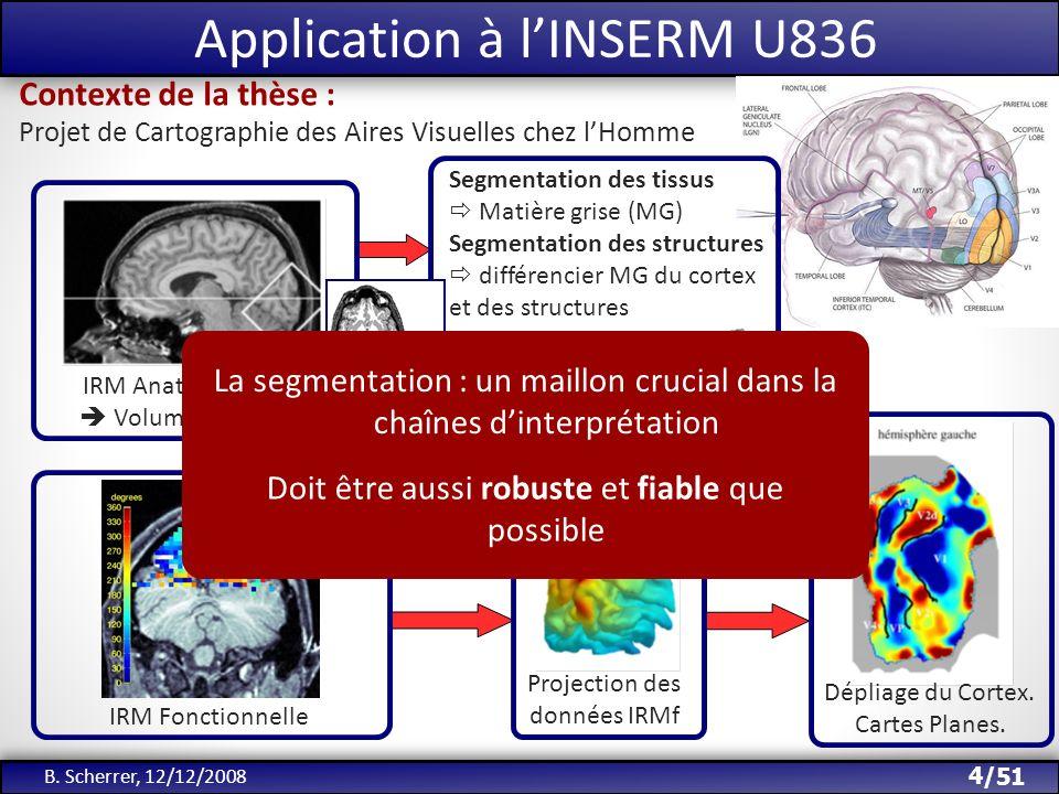 /51 Application à lINSERM U836 4 B. Scherrer, 12/12/2008 IRM Anatomique 3D Volume de Voxels IRM Fonctionnelle Reconstruction fine 3D du Cortex Project