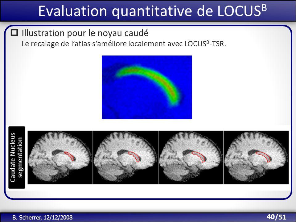 /51 Evaluation quantitative de LOCUS B 40 B. Scherrer, 12/12/2008 Illustration pour le noyau caudé Le recalage de latlas saméliore localement avec LOC