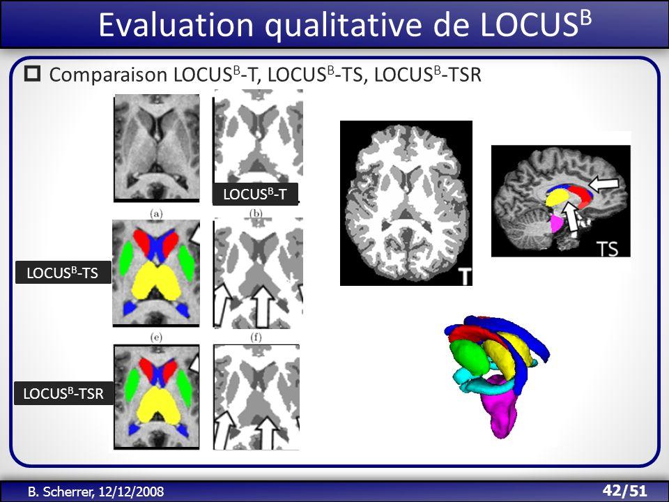 /51 Evaluation qualitative de LOCUS B 42 B. Scherrer, 12/12/2008 Comparaison LOCUS B -T, LOCUS B -TS, LOCUS B -TSR LOCUS B -T LOCUS B -TS LOCUS B -TSR