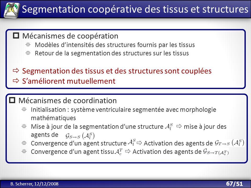 /51 Segmentation coopérative des tissus et structures B. Scherrer, 12/12/2008 67 Mécanismes de coopération Modèles dintensités des structures fournis