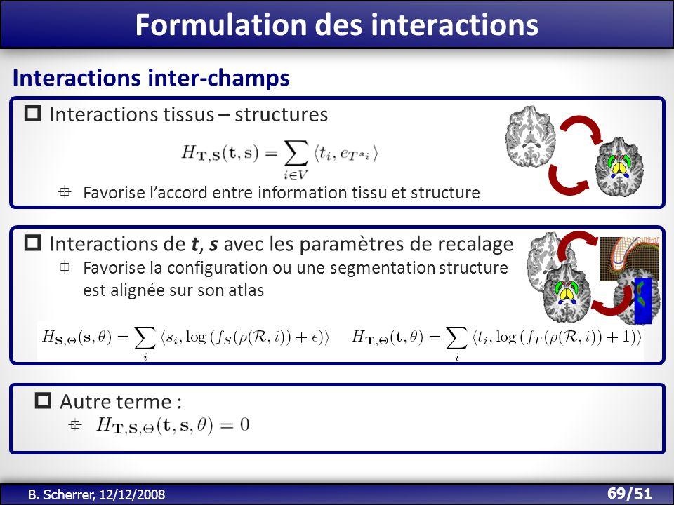 /51 Formulation des interactions 69 B. Scherrer, 12/12/2008 Interactions tissus – structures Favorise laccord entre information tissu et structure Int