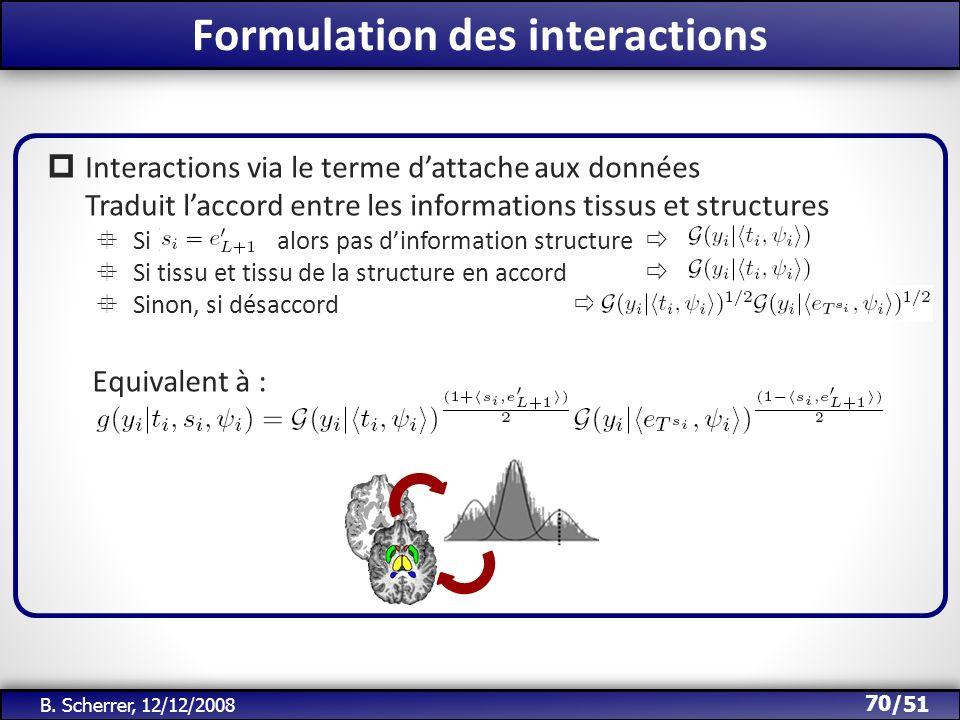 /51 Formulation des interactions 70 B. Scherrer, 12/12/2008 Interactions via le terme dattache aux données Traduit laccord entre les informations tiss