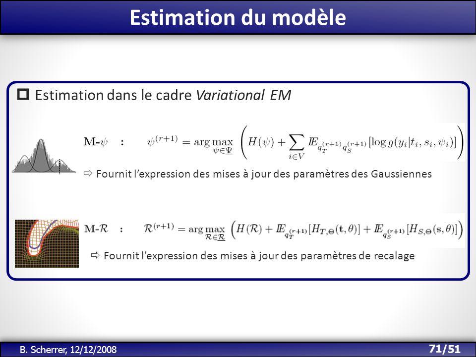 /51 Estimation du modèle 71 B. Scherrer, 12/12/2008 Estimation dans le cadre Variational EM Fournit lexpression des mises à jour des paramètres des Ga