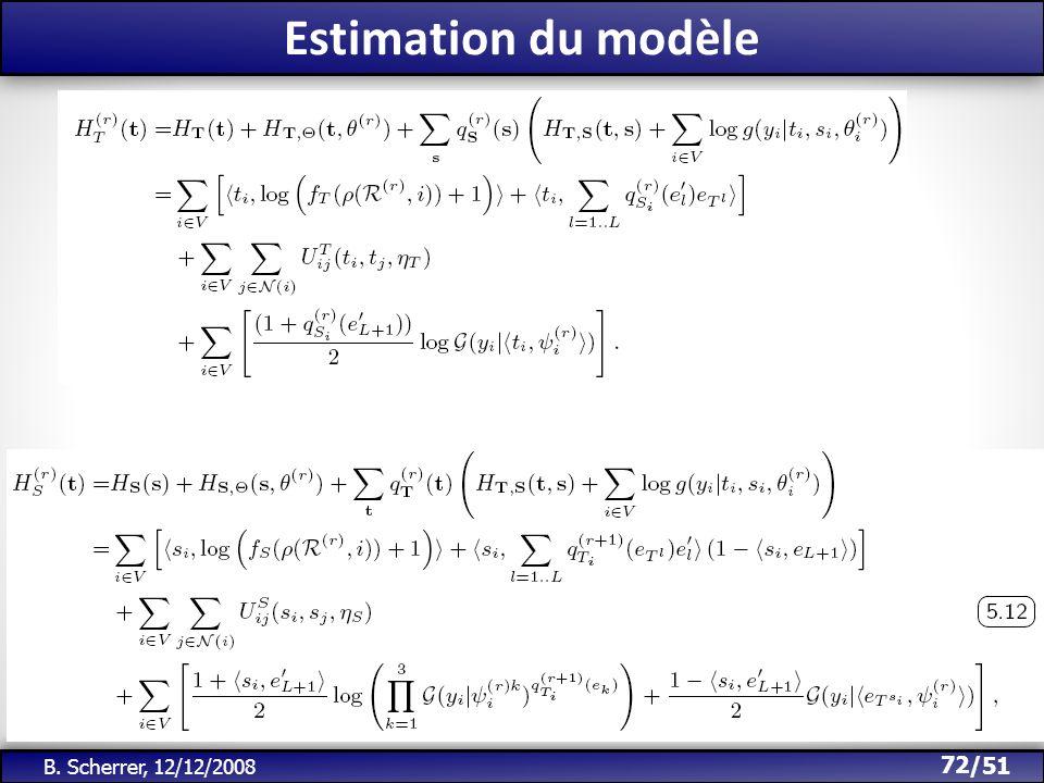 /51 Estimation du modèle 72 B. Scherrer, 12/12/2008