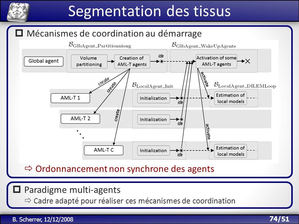 /51 B. Scherrer, 12/12/2008 Segmentation des tissus 74 Mécanismes de coordination au démarrage Paradigme multi-agents Cadre adapté pour réaliser ces m