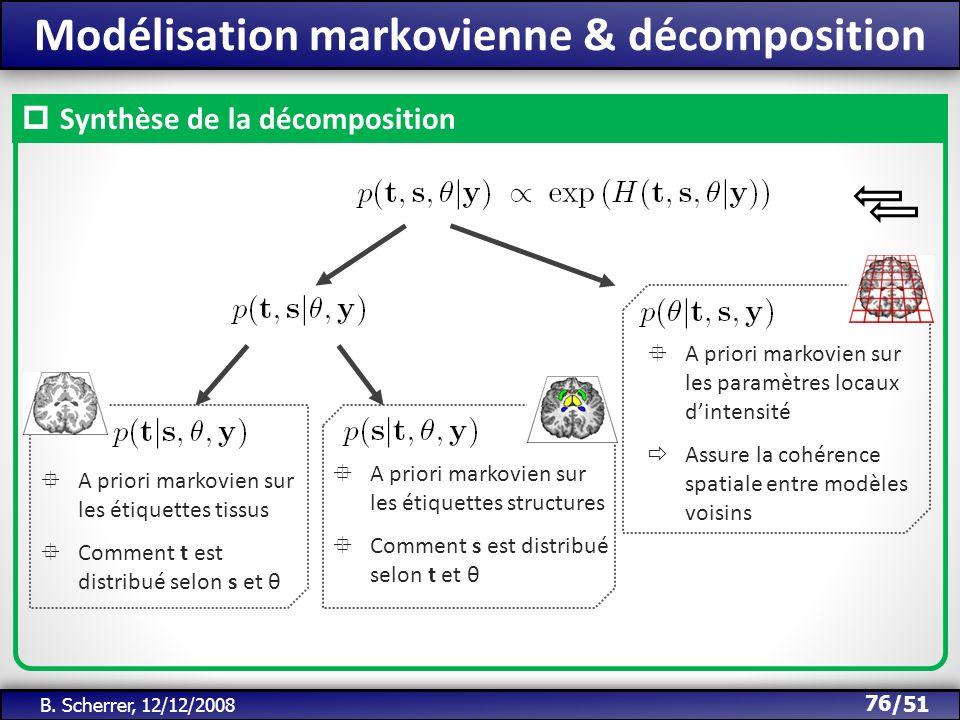 /51 Modélisation markovienne & décomposition 76 B. Scherrer, 12/12/2008 A priori markovien sur les étiquettes tissus Comment t est distribué selon s e