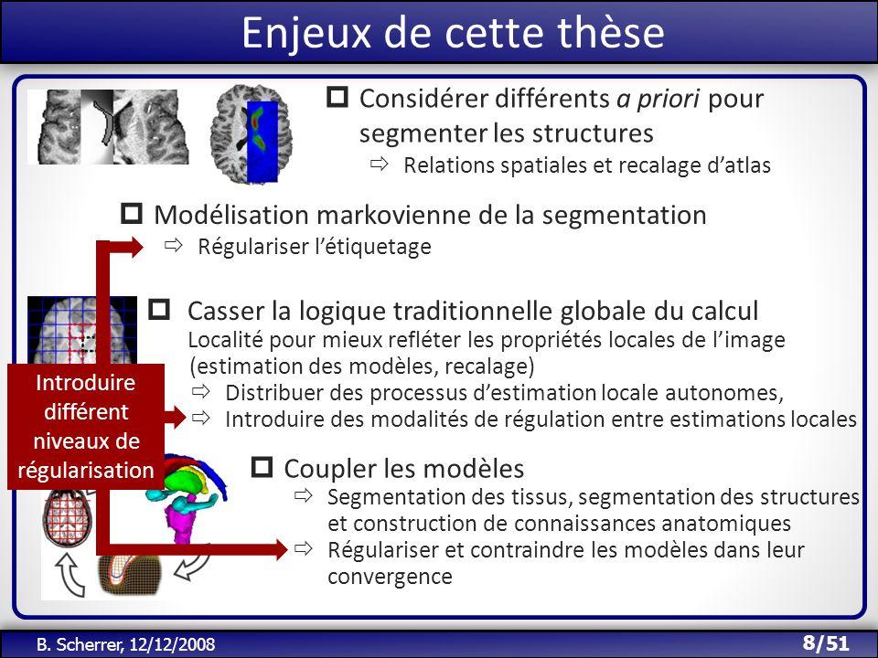 /51 Objet de cette thèse 8 B. Scherrer, 12/12/2008 Casser la logique traditionnelle globale du calcul Localité pour mieux refléter les propriétés loca