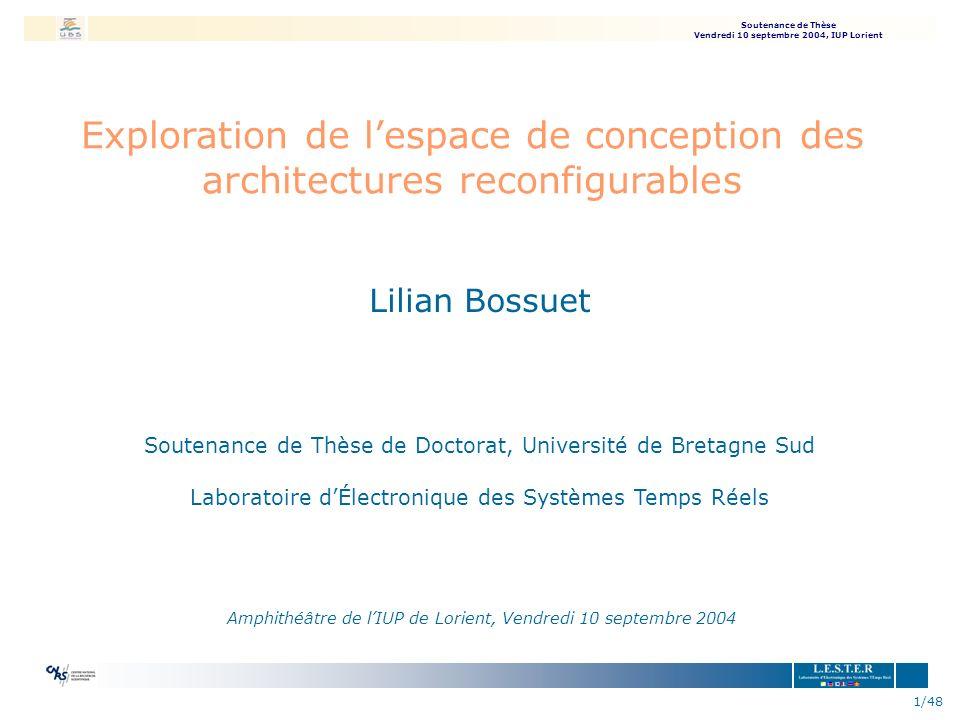 Soutenance de Thèse Vendredi 10 septembre 2004, IUP Lorient 42/48 AES : Résultats niveau 1 69% niveau 2 10% niveau 3 21% Taux dutilisation des ressources de larchitecture 68,80% 100% 93,80% ADD/SUBMUL/DIVCOMPLOGIC Répartition des communications niveau 1 50% niveau 2 14% niveau 3 36% nArchitecture traitement image èdiminution de 19% au niveau 1 èaugmentation de 15% au niveau 3