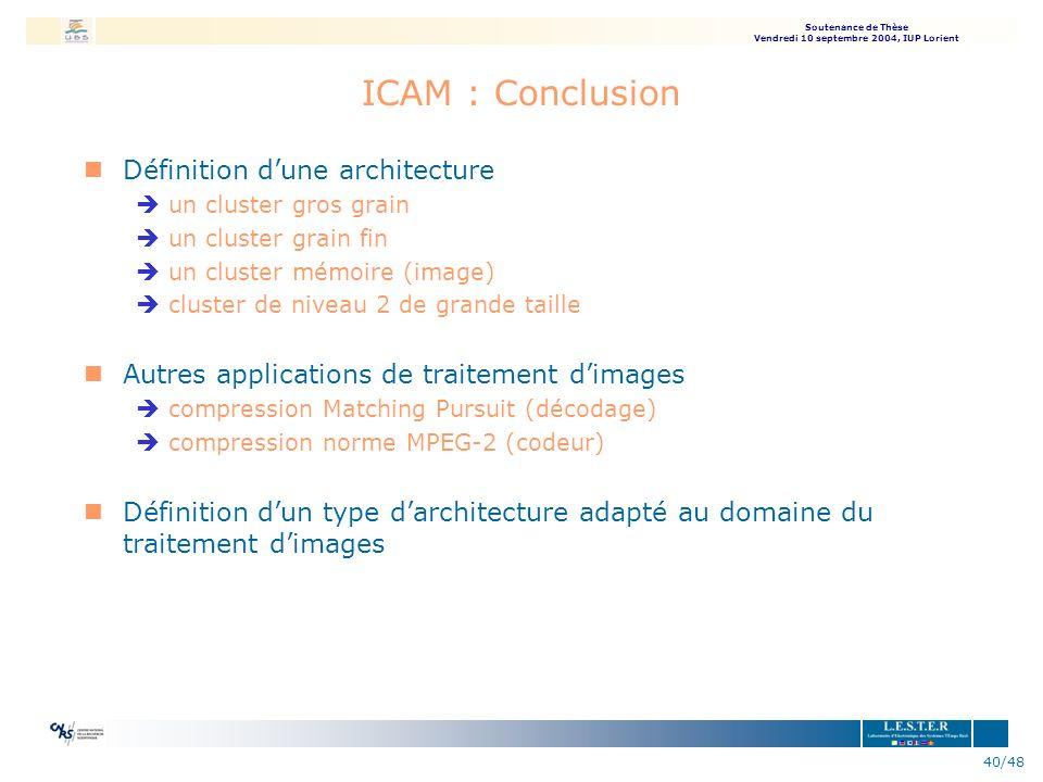 Soutenance de Thèse Vendredi 10 septembre 2004, IUP Lorient 40/48 ICAM : Conclusion nDéfinition dune architecture èun cluster gros grain èun cluster g