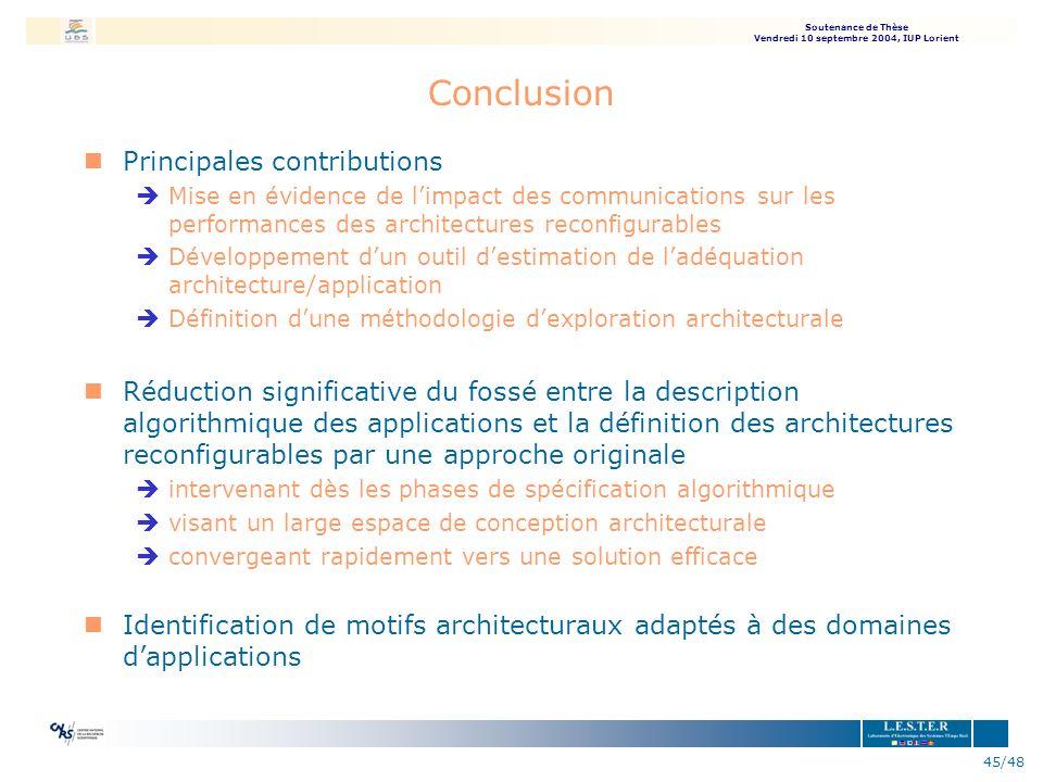 Soutenance de Thèse Vendredi 10 septembre 2004, IUP Lorient 45/48 Conclusion nPrincipales contributions èMise en évidence de limpact des communication