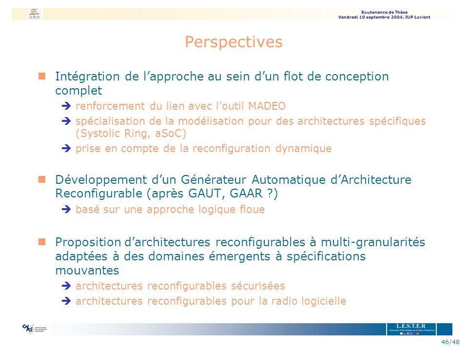 Soutenance de Thèse Vendredi 10 septembre 2004, IUP Lorient 46/48 Perspectives nIntégration de lapproche au sein dun flot de conception complet èrenfo
