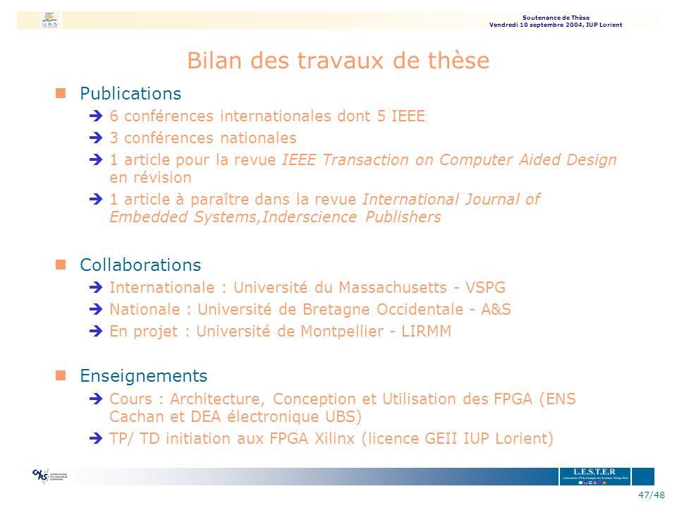 Soutenance de Thèse Vendredi 10 septembre 2004, IUP Lorient 47/48 Bilan des travaux de thèse nPublications è6 conférences internationales dont 5 IEEE