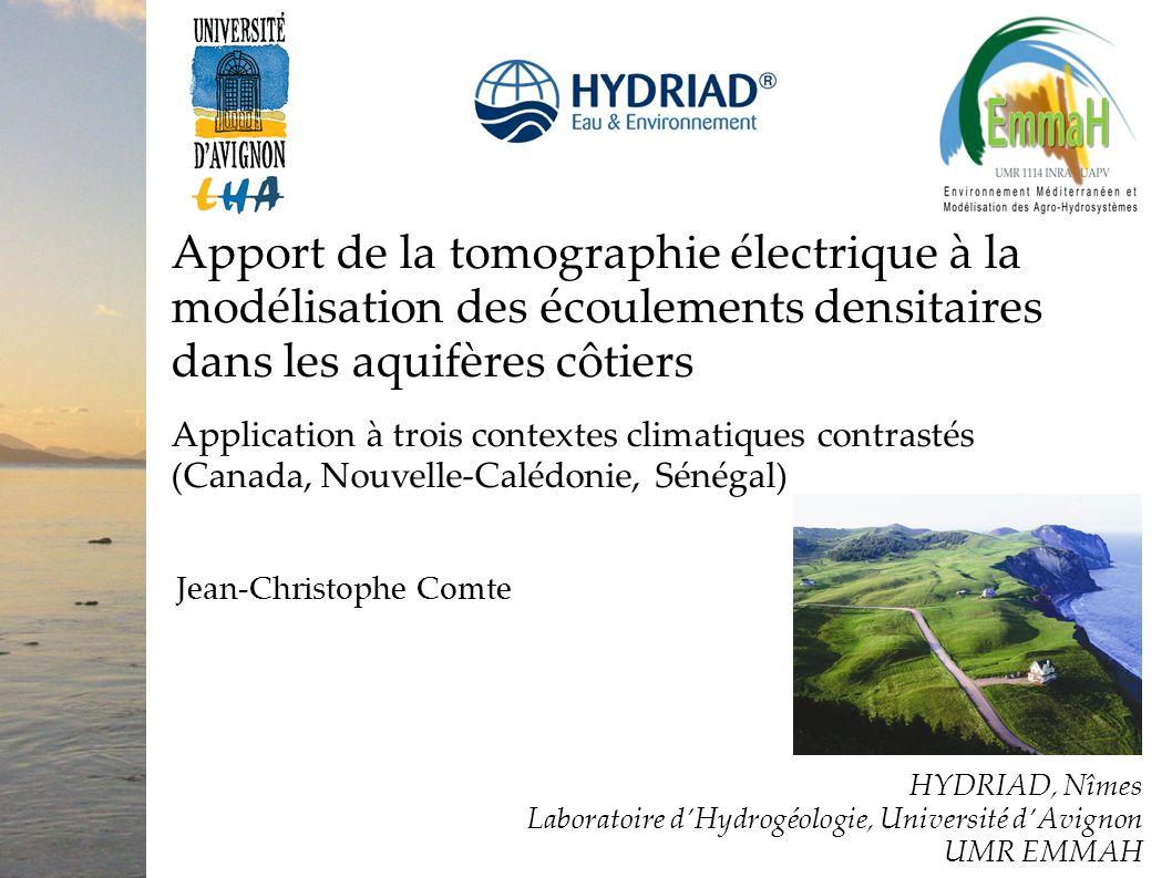 Apport de la tomographie électrique à la modélisation des écoulements densitaires dans les aquifères côtiers Application à trois contextes climatiques
