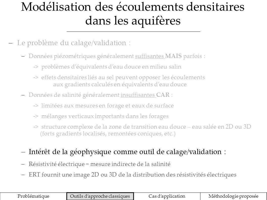 Modélisation des écoulements densitaires dans les aquifères ProblématiqueOutils dapproche classiquesCas dapplicationMéthodologie proposée Le problème