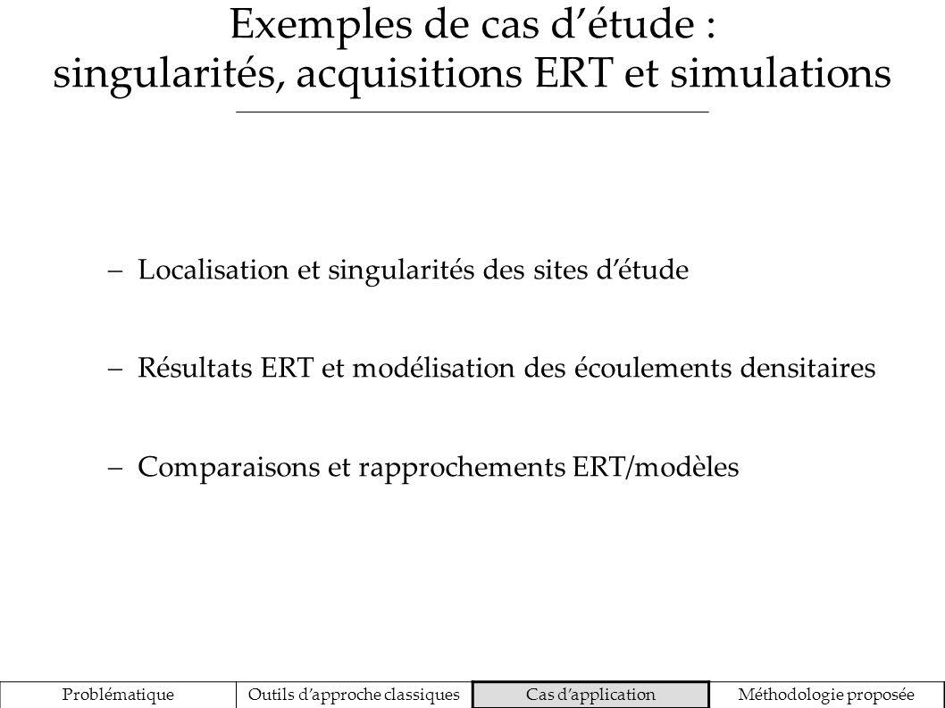Exemples de cas détude : singularités, acquisitions ERT et simulations ProblématiqueOutils dapproche classiquesCas dapplicationMéthodologie proposée L