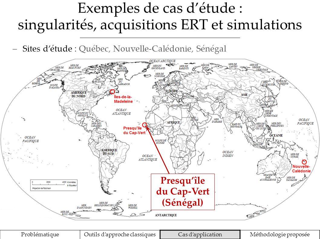 Exemples de cas détude : singularités, acquisitions ERT et simulations ProblématiqueOutils dapproche classiquesCas dapplicationMéthodologie proposée S
