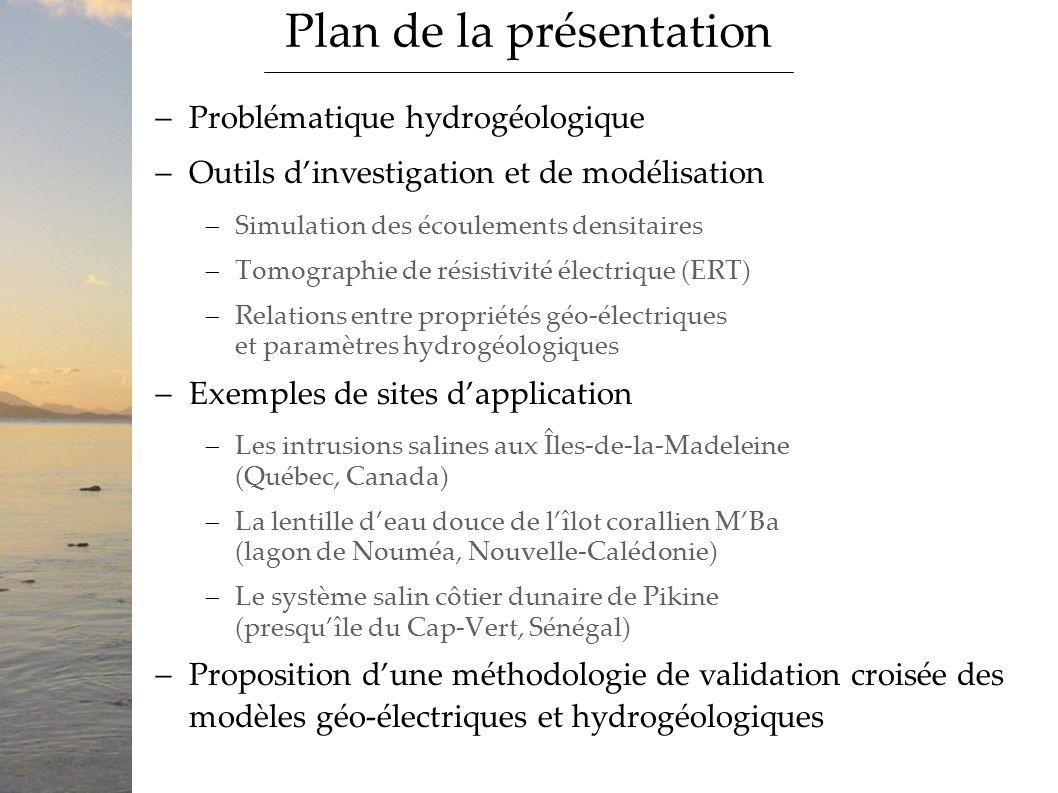 Problématique hydrogéologique Outils dinvestigation et de modélisation Simulation des écoulements densitaires Tomographie de résistivité électrique (E