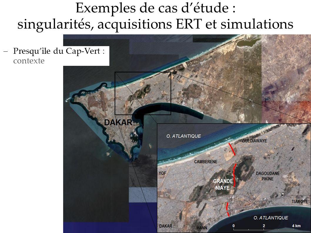 Exemples de cas détude : singularités, acquisitions ERT et simulations Presquîle du Cap-Vert : contexte