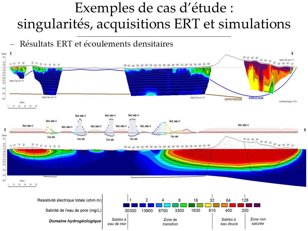 Exemples de cas détude : singularités, acquisitions ERT et simulations Résultats ERT et écoulements densitaires