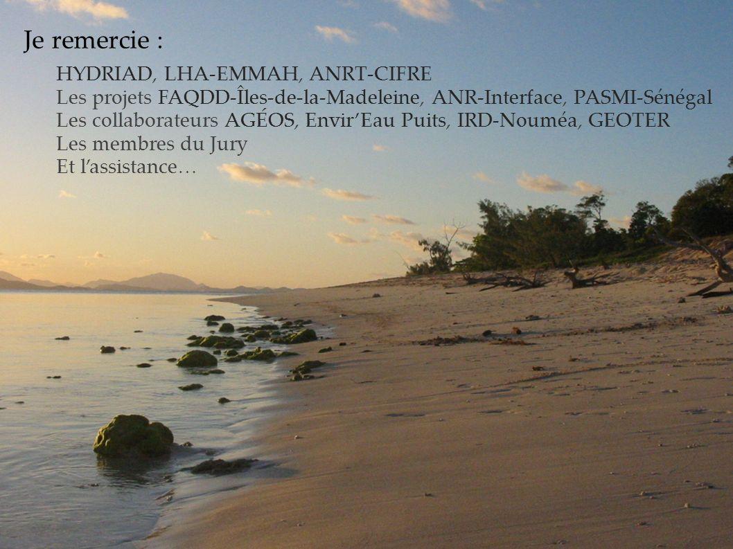 Je remercie : HYDRIAD, LHA-EMMAH, ANRT-CIFRE Les projets FAQDD-Îles-de-la-Madeleine, ANR-Interface, PASMI-Sénégal Les collaborateurs AGÉOS, EnvirEau P
