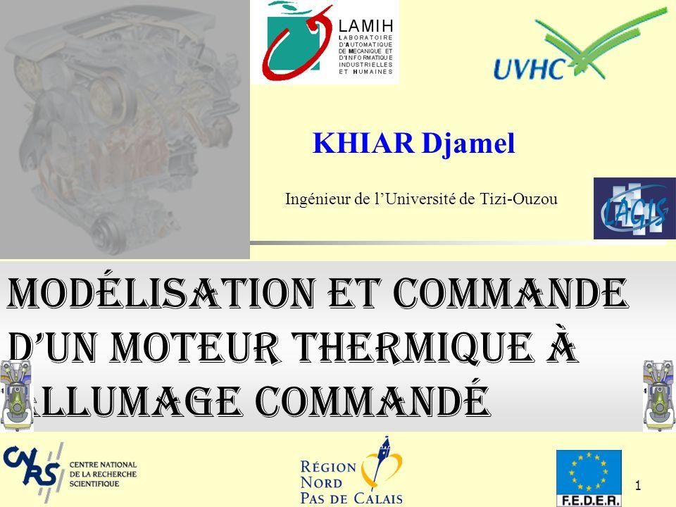 1 Modélisation et commande dun moteur thermique à allumage commandé KHIAR Djamel Ingénieur de lUniversité de Tizi-Ouzou