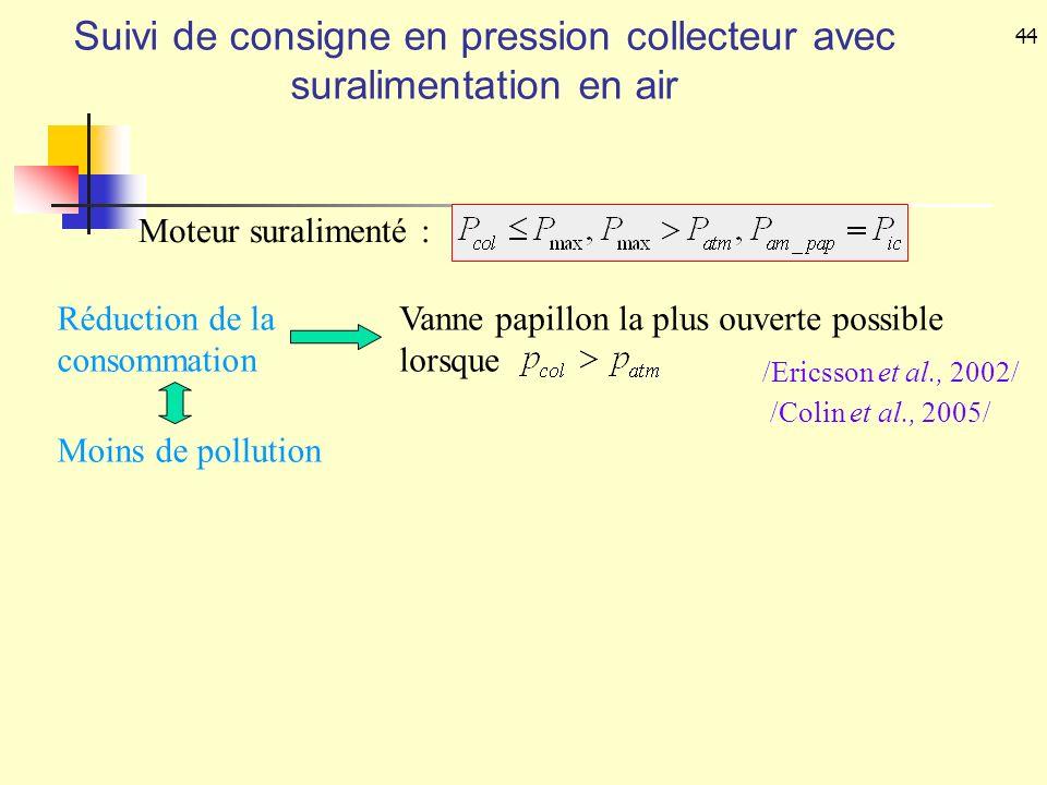 44 Réduction de la consommation Vanne papillon la plus ouverte possible lorsque Moins de pollution /Ericsson et al., 2002/ /Colin et al., 2005/ Suivi