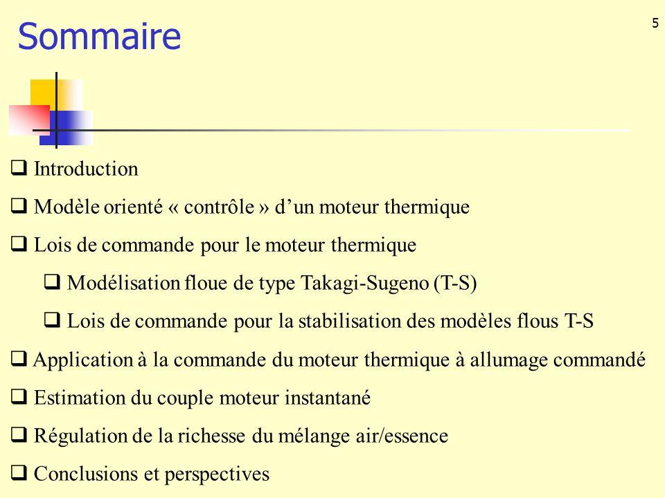 5 Sommaire Introduction Modèle orienté « contrôle » dun moteur thermique Lois de commande pour le moteur thermique Modélisation floue de type Takagi-S