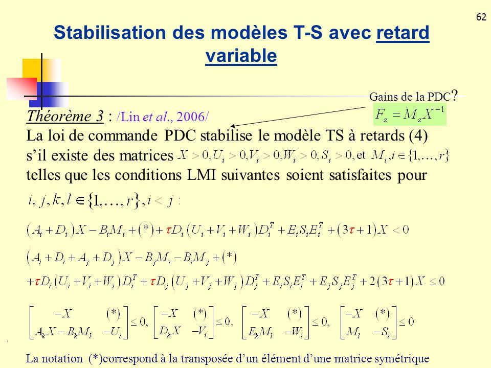 62 La notation (*)correspond à la transposée dun élément dune matrice symétrique. Théorème 3 : /Lin et al., 2006/ La loi de commande PDC stabilise le
