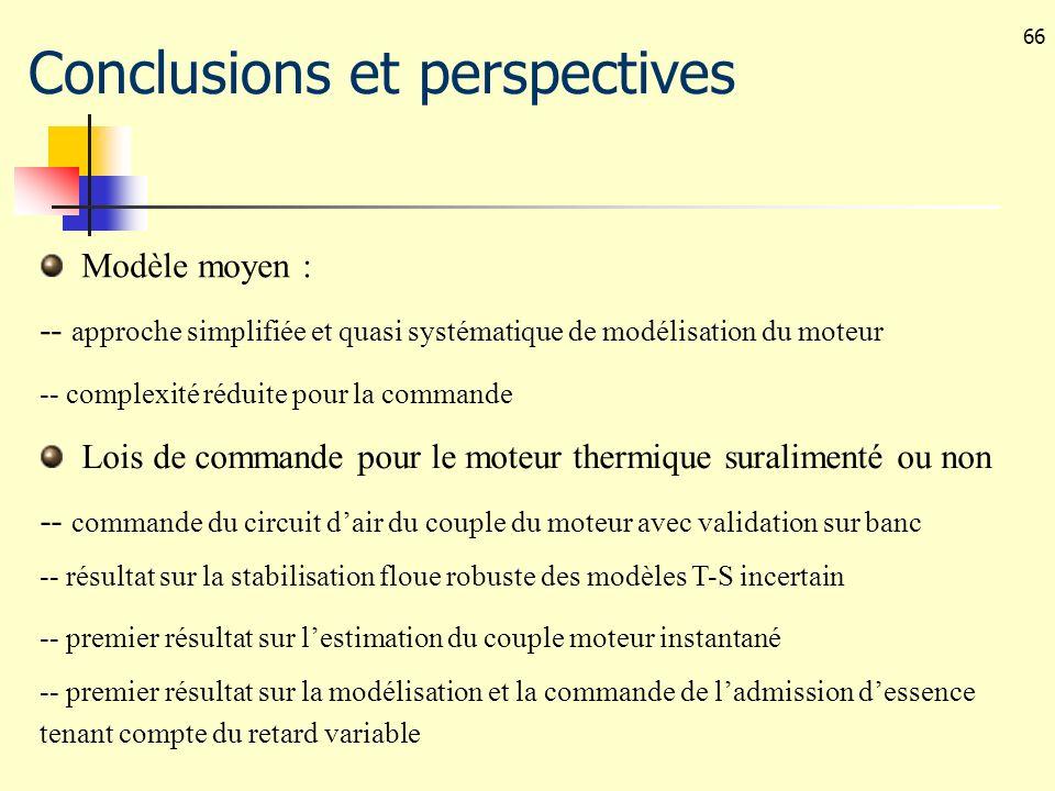 66 Conclusions et perspectives Modèle moyen : -- approche simplifiée et quasi systématique de modélisation du moteur -- complexité réduite pour la com