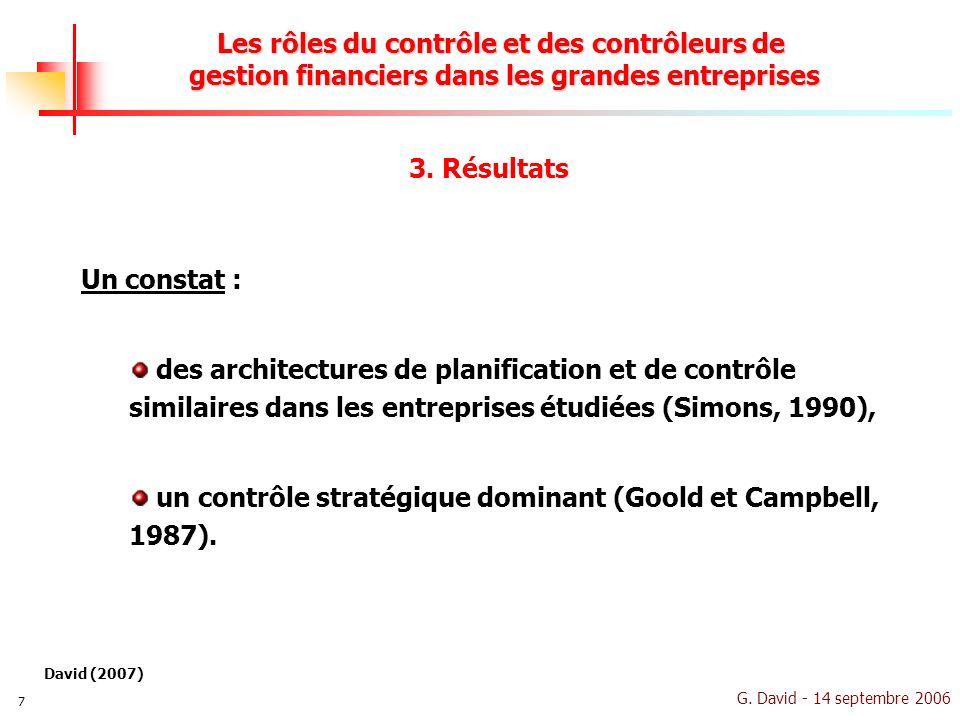 G. David - 14 septembre 2006 7 Les rôles du contrôle et des contrôleurs de gestion financiers dans les grandes entreprises Un constat : des architectu